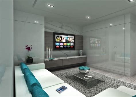 contemporary gray media room  teal accents hgtv