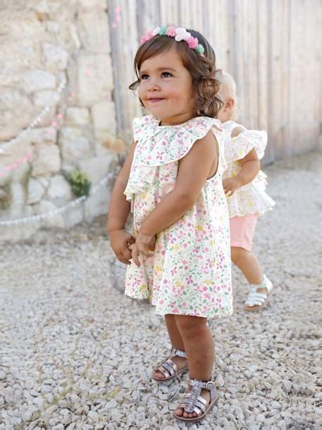 baby bettwäsche mädchen vertbaudet satinkleid baby m 228 dchen baumwolle in wei 223 bedruckt
