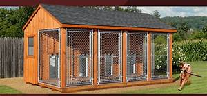 Wooden amish dog house dog kennel in oneonta ny amish for Dog run outdoor kennel house