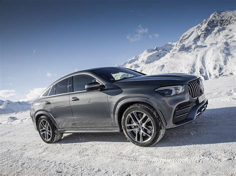 From the outside, the heavily contoured power dome design hints at the immense power delivery. 2021 Mercedes-AMG GLE 53 4MATIC Coupe (Color: Selenite Gray Metallic) - Front Three-Quarter ...