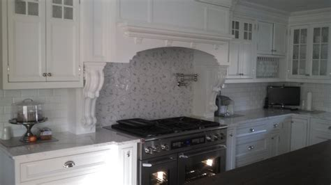white and gray lace and white ceramic subway tile