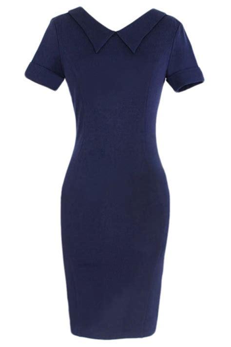 Navy Blue Doll Collar Plain Short Sleeve Plain Midi Dress
