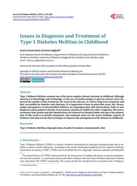 issues  diagnosis  treatment  type  diabetes