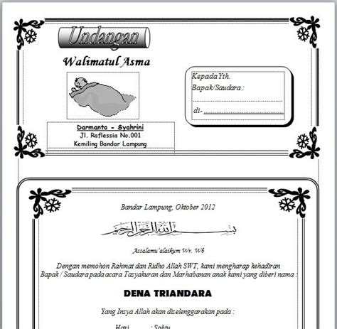 amplop undangan aqiqah harga template undangan