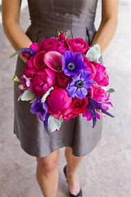 Hot Pink and Purple Wedding Bouquet