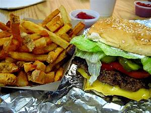 Bacon cheeseburger and fries at Five Guys in Georgetown ...
