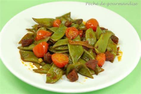 cuisiner des haricots plats haricots plats au safran chorizo et tomates cerise