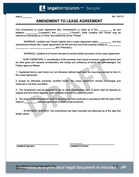 lease amendment form create   lease amendment template