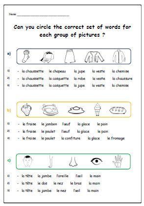 vocabulary french worksheetteaching resources