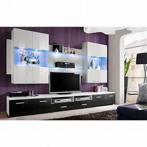 meuble de salon meuble tv design complet space blanc et With meuble salon noir et blanc 5 meuble tv design mural trendymobilier