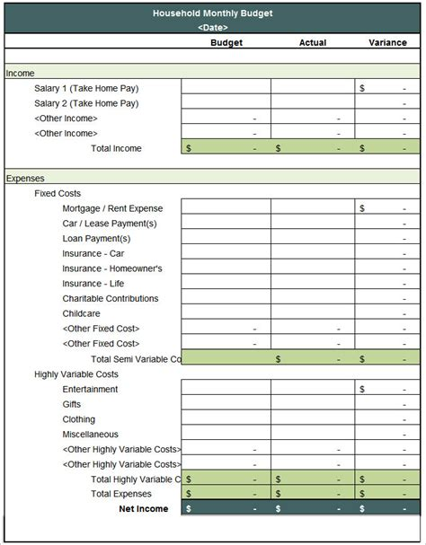 Household Budget Template 5 House Budget Template