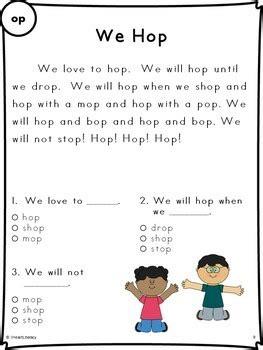 reading passages  fluency  comprehension short vowel