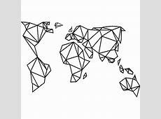 Sticker Design origami carte du monde – Stickers Villes et