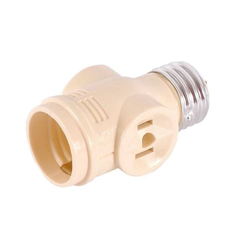 ge 2 outlet polarized light socket adapter ivory other