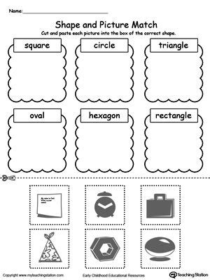 shape  picture match shapes worksheets shapes
