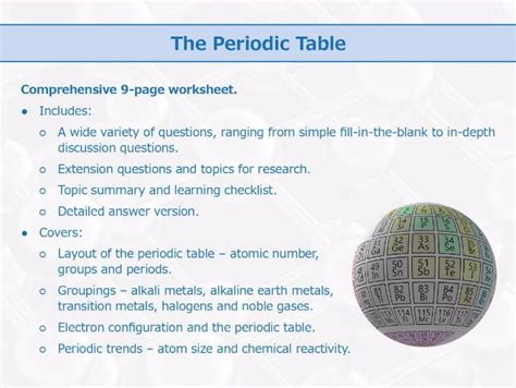 The Periodic Table [worksheet] By Goodscienceworksheets