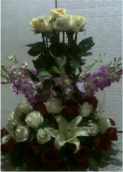 rangkaian bunga mawar lily  anggrek koleksi rangkaian