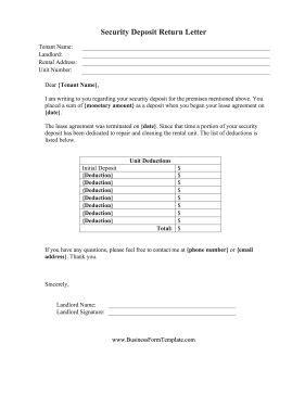 printable security deposit return letter