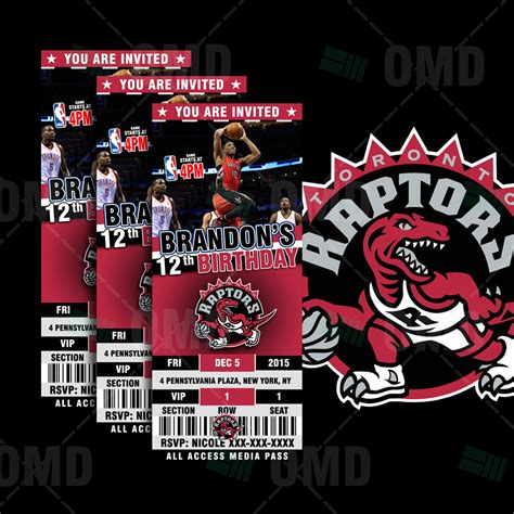 toronto raptors sports ticket style party invites