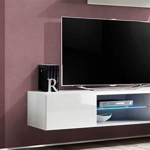 Meuble Tv Mural Blanc : meuble tv mural design fly iii 160cm blanc ~ Dailycaller-alerts.com Idées de Décoration