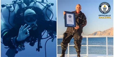 man sets  world record  deepest scuba dive