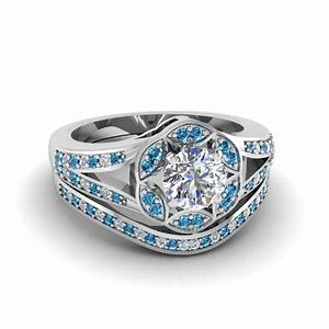 round cut floral halo split diamond wedding ring set with With floral wedding ring set