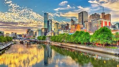 Melbourne Australia Rivers Street River Sky 4k