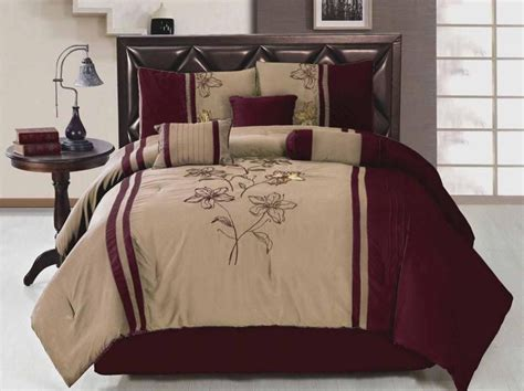 7 king size comforter embroidered floral burgundy beige bed in a bag in 2019 home is