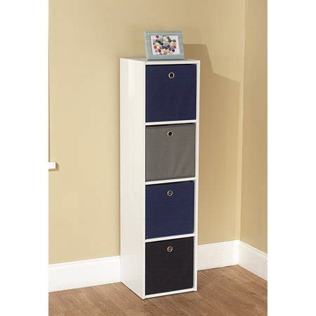 Bookcase Tower by Utility Bookcase Tower With 4 Fabric Bins Colors