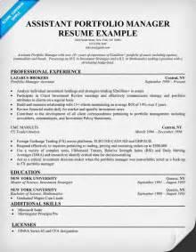 e portfolio for resume assistant portfolio manager resume sle resume sles across all industries