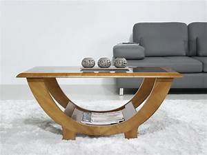 Style Contemporain : table basse en merisier massif de style contemporain ~ Farleysfitness.com Idées de Décoration