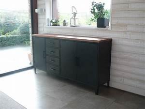 Meuble Bois Et Noir : bahut buffet vaisselier meuble en metal sur mesure ~ Dailycaller-alerts.com Idées de Décoration