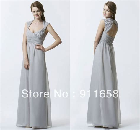 light grey bridesmaid dresses long light gray v neck a line floor length cap sleeves chiffon