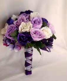 wedding flower bouquets silk purple bridal bouquets package custom for helen