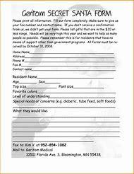 Secret Santa Questionnaire Form