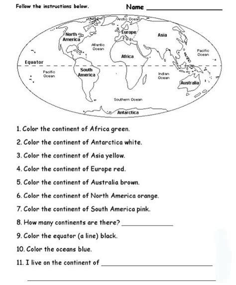 blank continents and oceans worksheets continents and