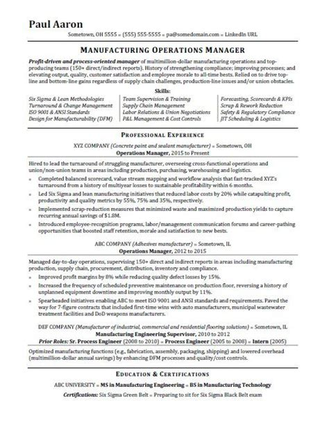 Manager Resume by Operations Manager Resume Sle