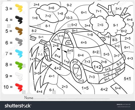 paint color  addition subtraction numbers stock vector