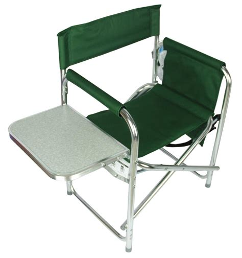 folding sports directors chair cing fishing chair with side table and pockets ebay