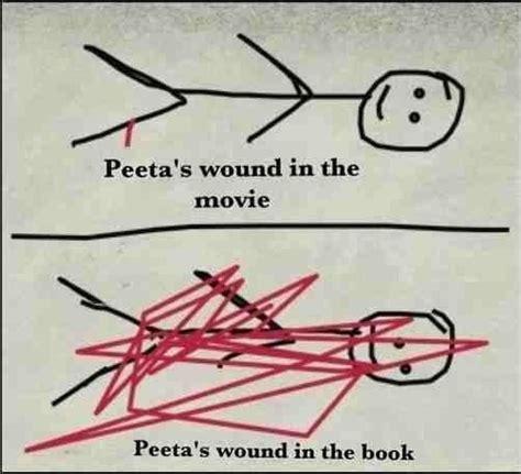 hunger peeta leg peeta s leg wound in movie vs book books pinterest