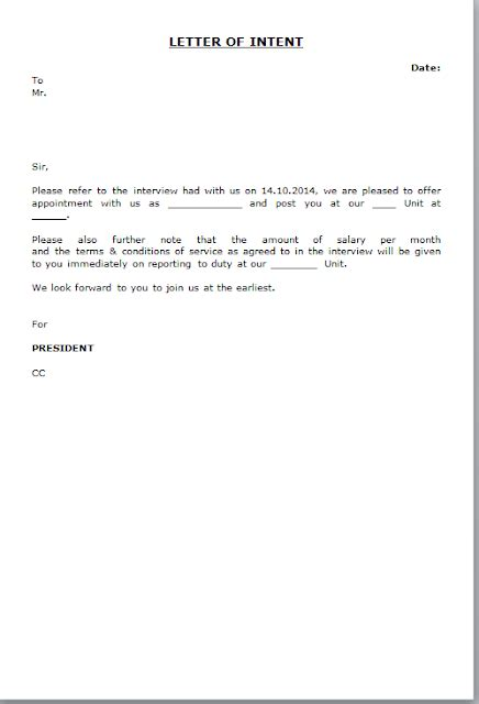 letter  intent format  employee