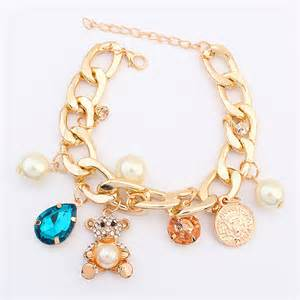 Gold Bangle Bracelets with Charms for Women