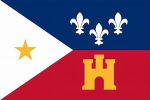 The flag of the Acadians is the French tri-color with a