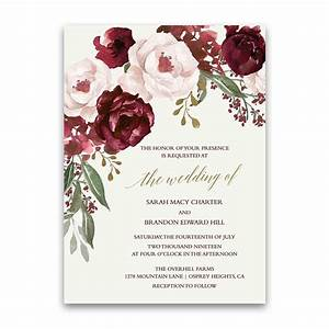 fall wedding invitations burgundy wine gold blush floral With burgundy black and gold wedding invitations