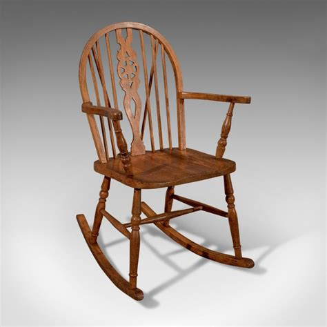 Antique Windsor Rocking Wheel Back Country Chair Edwardian