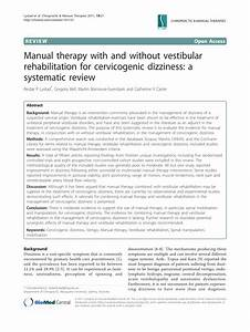 Pdf  Manual Therapy With And Without Vestibular