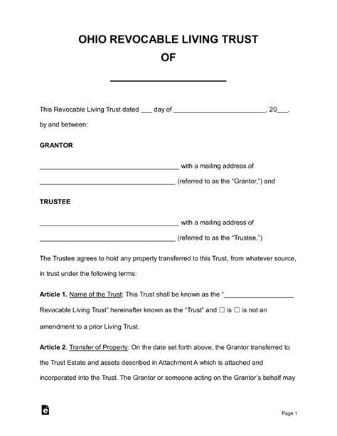 ohio living will form 2017 free ohio revocable living trust form pdf word