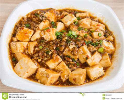 sauce cuisine tofu and mince with spicy sauce stock photo image