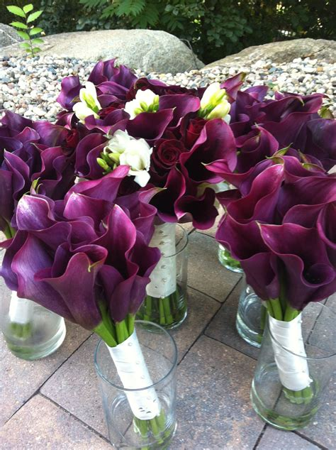 wine colored wedding purple calla lilies baccara roses