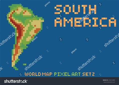 pixel style map south america stock vector 223412983